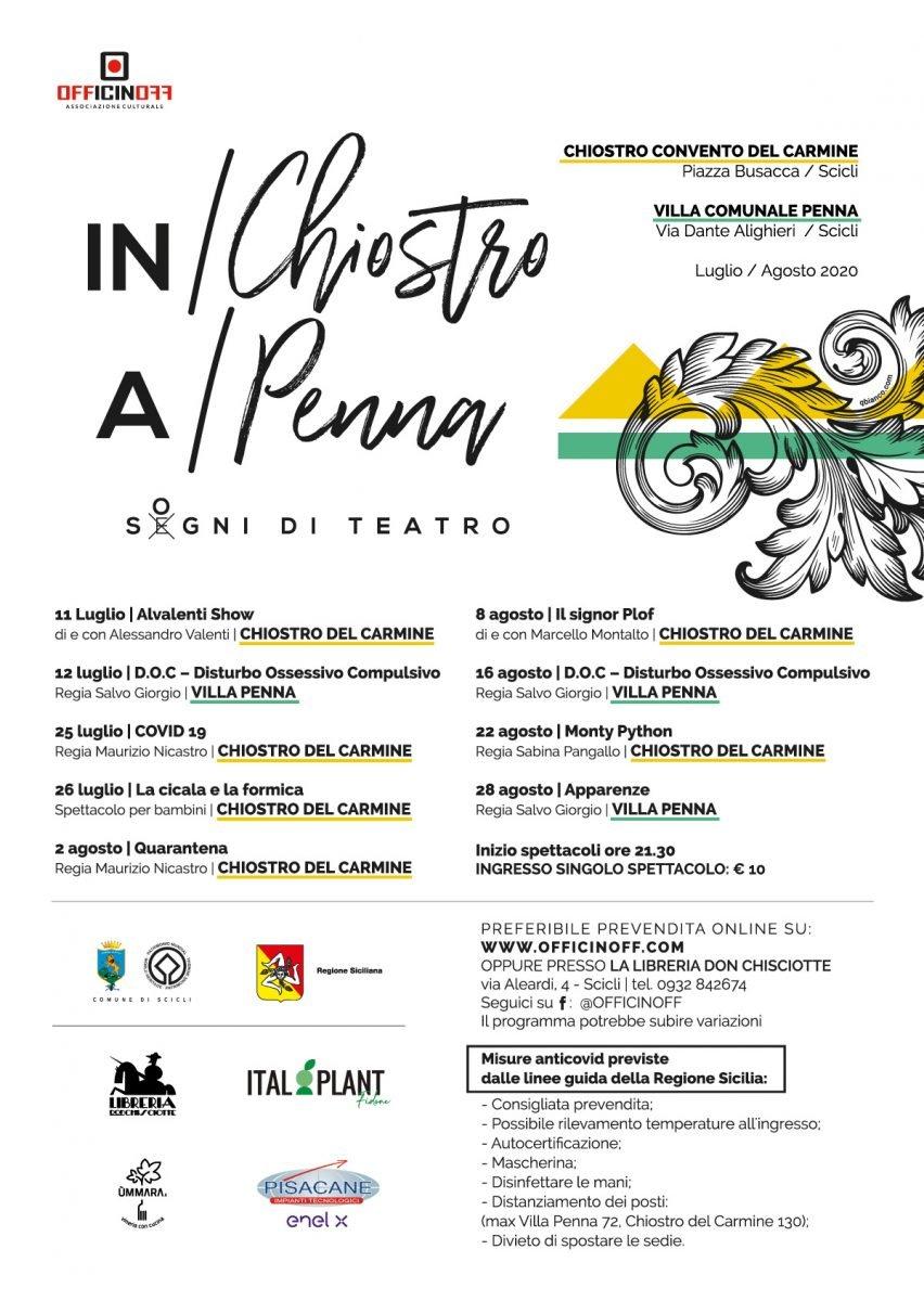 Locandina rassegna teatrale IN/Chiostro A/Penna di OfficinOff - Scicli
